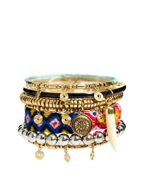 Image 1 ofRiver Island Mixed Tribal Bracelets