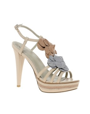 Image 1 ofKelsi Dagger Hania Leather Heeled Sandal With Flower Applique