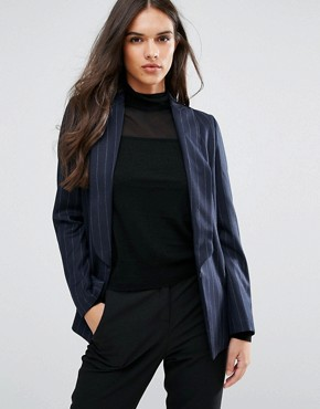 Sisley Pin Stripe Single Button Blazer