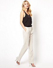 Mango Crepe Wide Leg Tailored Pant
