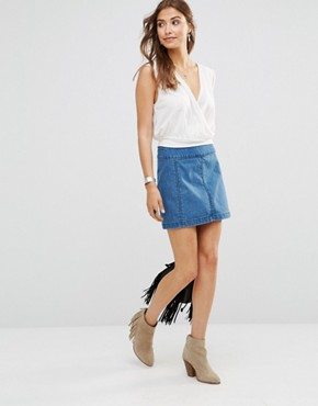 Free People Zip To It Denim Mini Skirt