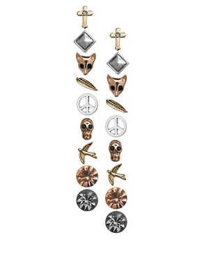 Image 1 ofRiver Island Blogger Pack Of Nine Earrings