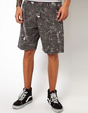 The Hundreds  Chino-Shorts mit Tarnmuster und Farbspritzern