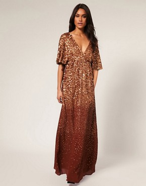 Image 1 ofMango Bronze Embellished Maxi Dress