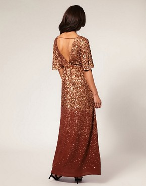Image 2 ofMango Bronze Embellished Maxi Dress