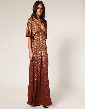 Image 4 ofMango Bronze Embellished Maxi Dress
