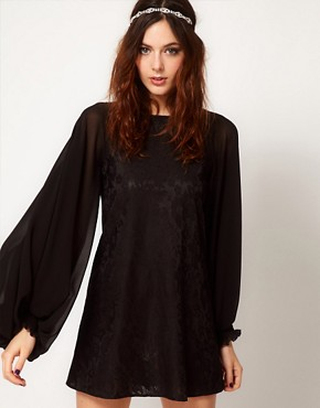Image 1 ofRiver Island Bell Sleeve Lace Dress