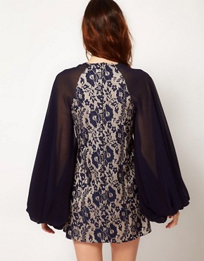 Image 2 ofRiver Island Bell Sleeve Lace Dress