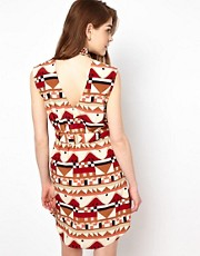 Viva Vena Cut Out Back Shirt Dress in Geo Print
