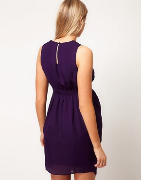 Image 2 ofASOS Maternity Exclusive Tulip Dress With Pleated Neckline