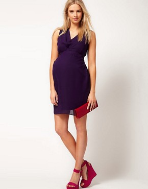 Image 4 ofASOS Maternity Exclusive Tulip Dress With Pleated Neckline