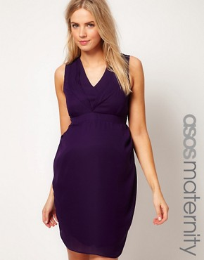 Image 1 ofASOS Maternity Exclusive Tulip Dress With Pleated Neckline