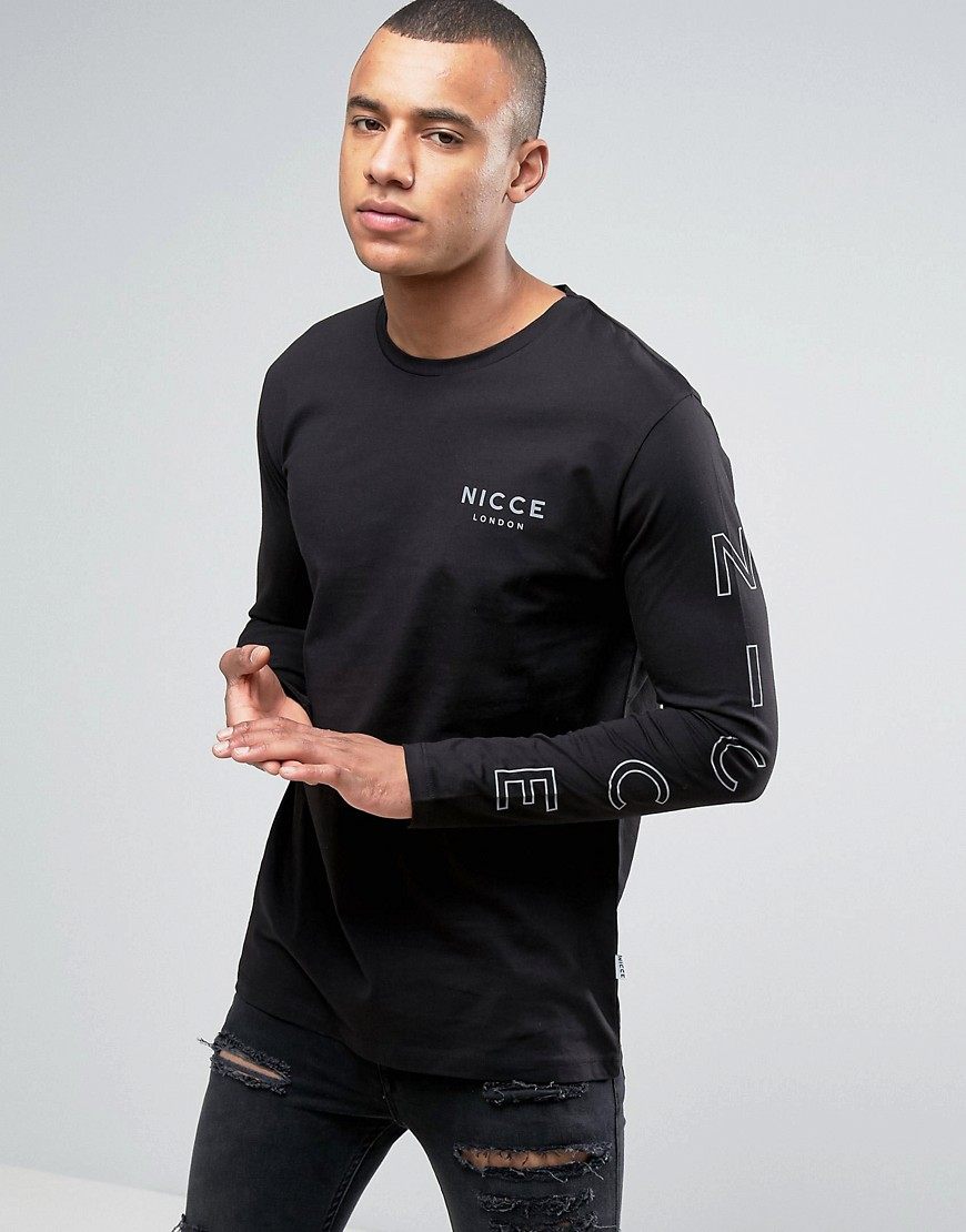 Nicce London Long Sleeve T-Shirt In Black With Reflective Sleeve Print - Black