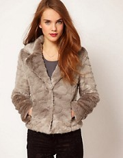 A Wear Button Front Faux Fur Jacket
