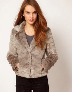 Image 1 ofA Wear Button Front Faux Fur Jacket