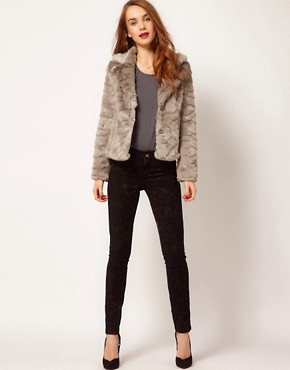 Image 4 ofA Wear Button Front Faux Fur Jacket