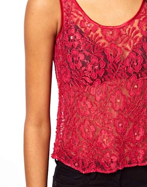 Image 2 ofASOS PETITE Exclusive Lace Embellished Crop Top