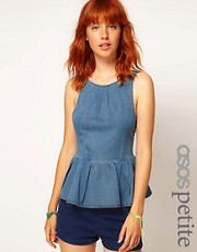 ASOS PETITE Bow Back Denim Top