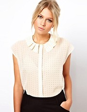 ASOS Blouse With Origami Collar And Spot Print
