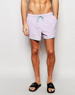 ASOS Short Length Runner Swim Shorts In Purple With Contrast Binding