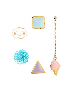 Image 1 ofASOS Happy Cloud Mismatch Single Stud Earrings