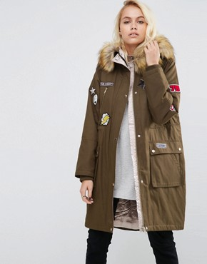 ASOS Badged Parka with Satin Lining