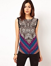 Warehouse Tribal Animal Tank Top
