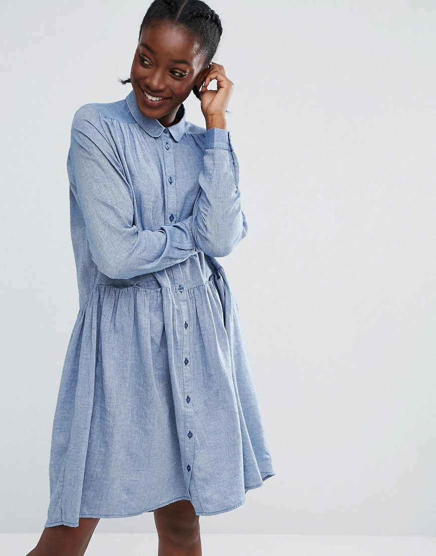 Monki Smock Dress - Blue