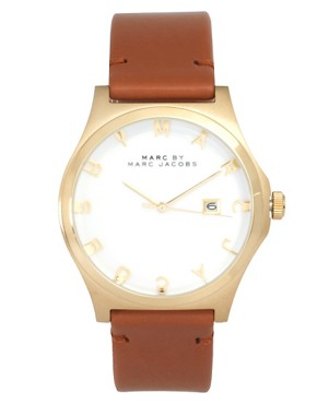 Image 1 ofMarc By Marc Jacobs Brown Leather Strap With Gold Face Watch