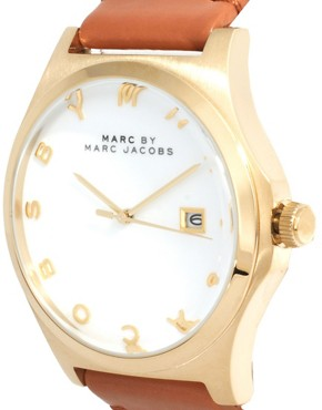 Image 4 ofMarc By Marc Jacobs Brown Leather Strap With Gold Face Watch