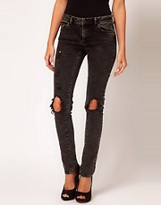 ASOS Skinny Jeans in Black Acid Wash with Rip Details