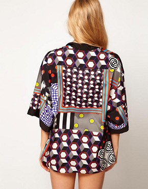 Image 2 ofASOS Mix and Match Print Beach Kimono Shawl