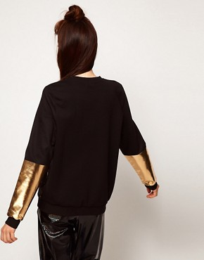 Image 2 ofASOS Sweatshirt with Secret Night Trip Print with Gold Sleeves
