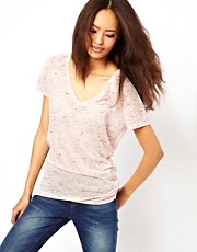 ASOS T-Shirt with V-Neck in Sheer Neppy