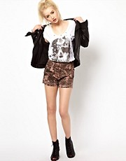 Religion Printed Denim Shorts With Ripped Detail