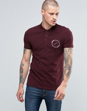 ASOS Muscle Polo With Circle Text Chest Print