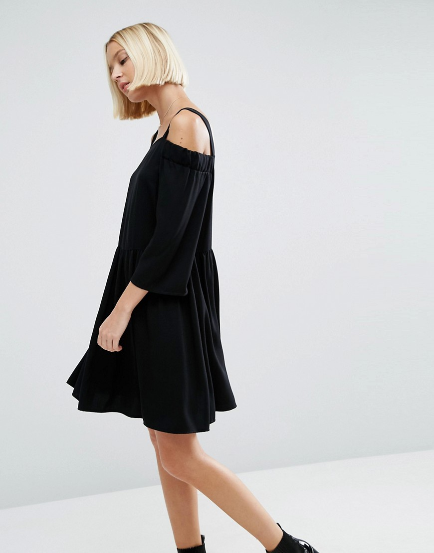 ASOS Cold Shoulder Smock Dress in Twill Fabric - Black