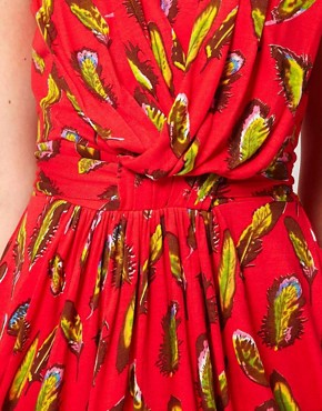 Image 3 ofRuby Rocks Feather Print Wrap Dress