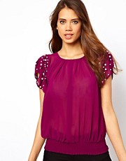Lipsy Blouse with Pearl Embellished Shoulders