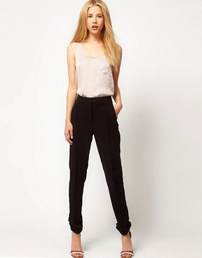 Image 1 ofASOS Crepe Trousers with Elastic Cuff