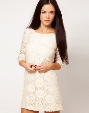 Image 1 ofRiver Island Chelsea Girl Lace Shift With 3/4 Sleeve
