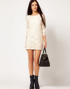 Image 4 ofRiver Island Chelsea Girl Lace Shift With 3/4 Sleeve
