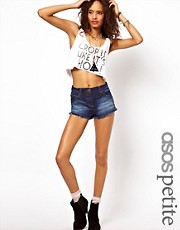 ASOS PETITE Denim Hotpants In Dark Rich Vintage Wash