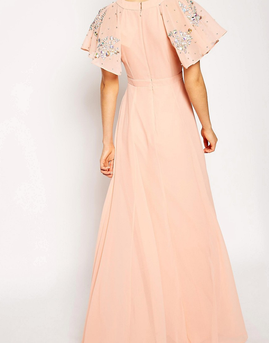asos asos flutter sleeve beaded maxi dress at asos