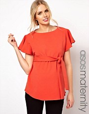 ASOS Maternity Top With Fluted Sleeves And Belted Waist