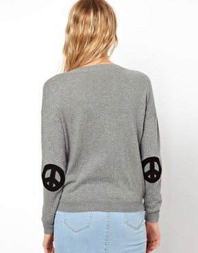Image 2 ofASOS Jumper With Peace Sign Elbow Patches