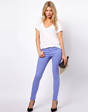 Image 4 ofASOS PETITE Exclusive Skinny Jeans In Purple
