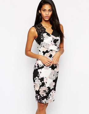 Lipsy Allover Floral Print Lace Top Bodycon Dress