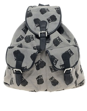Image 1 ofASOS Owl Print Backpack