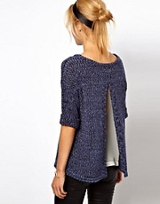 ASOS Knitted Rolled Sleeve Tee With Chiffon Insert